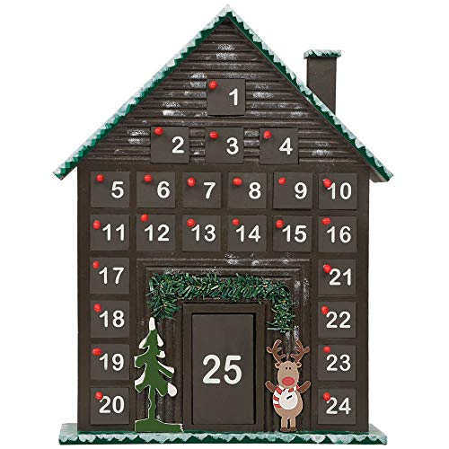 Cllayees 25 Day Wooden House Advent Calendar Decorated with Christmas Tree and Reindeer, Countdown to Christmas 25 Storage Drawers Advent Calendar