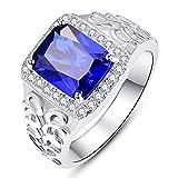 BONLAVIE Ringe für Herren 925 Sterling Silber Mit Blau Saphir Zirkon CZ Partner Eheringe/Hochzeitsring
