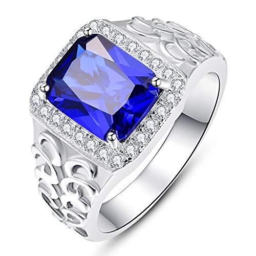 Bonlavie Hombre Mujer Niños Unisex plata Prinzessschliff Brilliantschliff azul blanco
