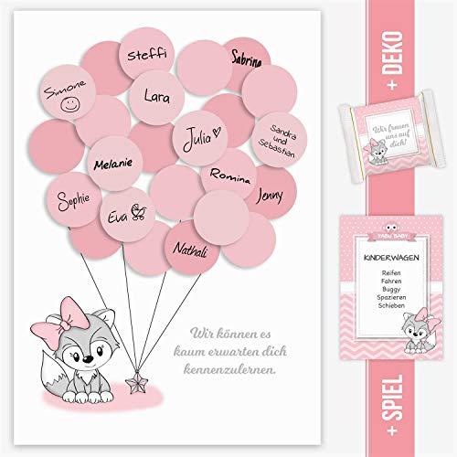 Babyparty, Baby Shower, Geschenk, Gastgeschenk, Deko, Idee, Andenken, Glückwünsche, Fingerabdruck, Erinnerungsstück, Fuchs, mädchen, rosa