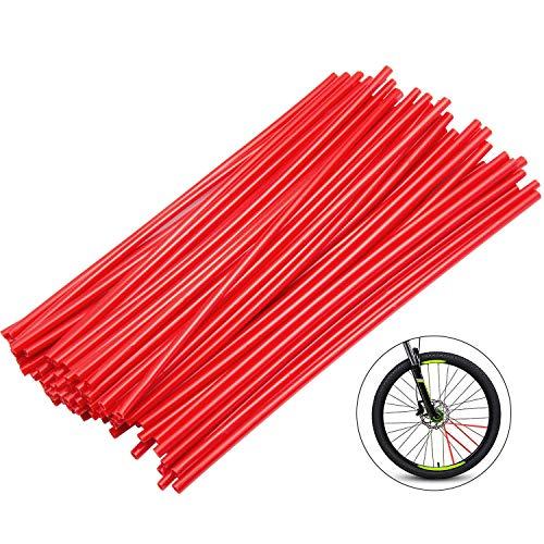 Diealles 72pcs Motorrad Fahrrad Radschutz Dekor Speichen Wraps Felgen Haut Abdeckung für Geländewagen Fahrrad Off-Road Dirty Bike - Rot