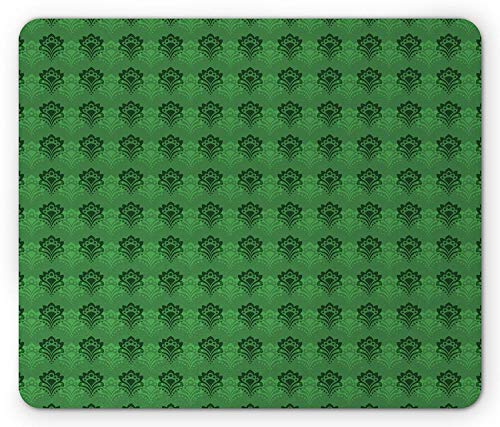 Alfombrilla de ratón para Juegos Emerald Mouse Pad, Abstract Floral Arrangement Green Color Palette Curves Dots Shaped Petals, Standard Size Rectangle Non-Slip Rubber Mousepad, Fern Green Emerald