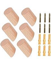 Houten Wandhaak Natuurlijke Massief Beuken Houten Cilinder Haken voor Opknoping Kleding Hoed Sleutel Jas Tas Robe Sjaal Hoofdtelefoon 6 Pack