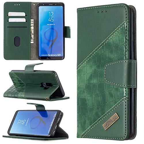 Miagon Samsung Galaxy S9 Plus Étui pour Téléphone,Antichoc Cover Crocodile Épissage PU Cuir Coque Housse avecMagnétique Porte-Cartes de Crédit Stand Support,Vert
