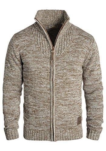 !Solid Pomeroy Herren Strickjacke Cardigan Grobstrick Winter Pullover mit Stehkragen, Größe:L, Farbe:Dune (5409)