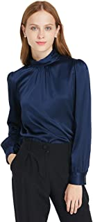 Silk Blouses for Women Long Sleeve Soft Charmeuse 19MM Retro Style Ladies Royal Top