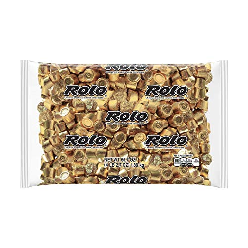 ROLO Bulk Milk Chocolate Caramel Candy, Ships With Cool Packs, 4.1 Pounds, Golf Foils, ~205 Pieces