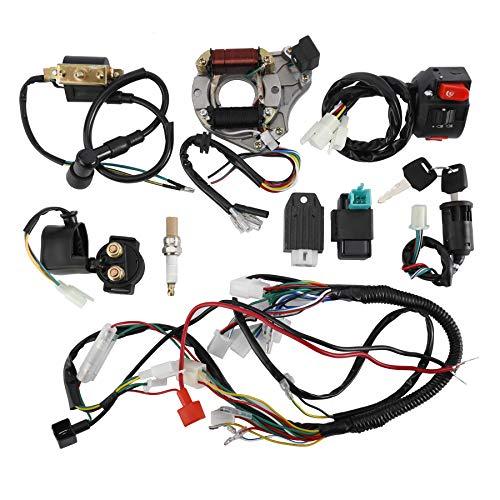 AuInLand Complete Electrics Wiring Harness Kit, Stator Coil CDI Wiring Loom Kit for 4 Stroke ATV KLX 50cc 70cc 110cc 125cc Pack of 9