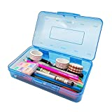 Nuozme Plastic Translucent Pencil Box for Kids, Large Capacity Pencil Cases with Snap Tight Lid, Stackable Pencil Holder Office Supplies Organizer for Pens Pencils School Supplies,1 Pack (Blue)