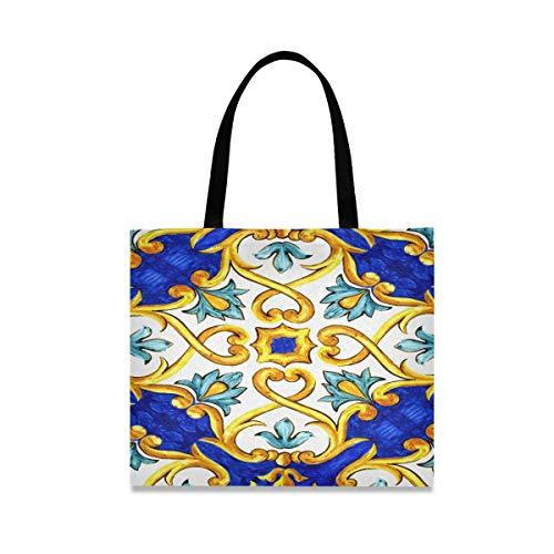Große quadratische Kapazität Womans Tote Bag Ornament auf italienischen Fliesen Majolika Cyan Bag Schulter 19,7 X 16.9in Print für Mädchen Damen Shopping tägliche Arbeit