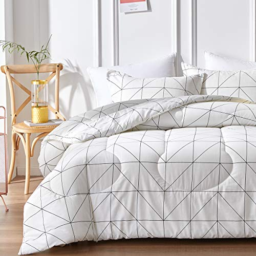 Joyreap 3pcs Premium Cotton Comforter Set Full/Queen, Simple Lines Geometric White Plaid Design, Lightweight Comforter for All Season- 90x90 inches