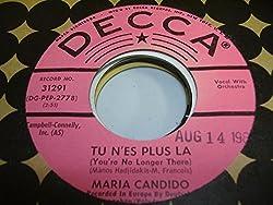 MARIA CANDIDO 45 RPM Tu N'es Plus La (You're No Longer There) / Par Dela (Al Di La)