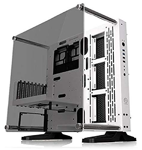 Thermaltake Core P3 ATX Tempered Glass Gaming Computer Case Chassis, Open Frame Panoramic Viewing, White Edition, CA-1G4-00M6WN-05, Snow