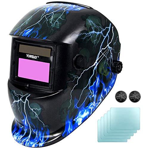 Yorbay® Solar Automatisch verdunkelnd Schweißhelm Schweißmaske mit 5 Stück Ersatzgläser, Schleif-Funktion (Skull, Lightning) (Mehrweg)