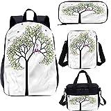 Juego de mochila para adolescentes de 15 pulgadas, diseño de árbol de primavera con pájaros de amor, juego de bolsas escolares para trabajo, escuela, viajes, picnic
