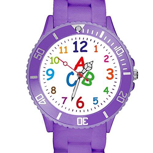 Taffstyle Kinder Armbanduhr Silikon Sportuhr Bunte Sport Uhr Kinderuhr Lernuhr Zahlen ABC Motiv Analog Lila