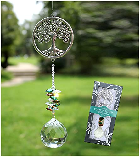 Rosleanny Crystal Garden Suncatcher Hanging Crystals Ornament for Window Rainbow Maker Prisms Home Decor Gift Boxed Sun Catcher Gift Idea for Mom Friends Grandma,Tree of Life