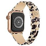 joyluckycat Compatibile con Band Apple Watch per Donna Uomo, Stampa Leopardata Slim Temp Tessy Band con Rivestimento in Pelle Morbida e Bottone a Scatto per Apple Guarda Serie
