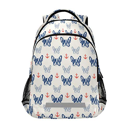 School Backpack with Chest Strap, French Bulldog And Anchor Laptop Backpack, Travel Hiking Backpack for Boys Girls, Rucksack, Knapsack