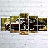 DBFHC Art Cuadros En Lienzo For Mustang Classic 1970 Coche De Época Decoracion De Pared 5 Piezas Modernos Mural Fotos para Salon Dormitori Baño Comedor 150X100Cm