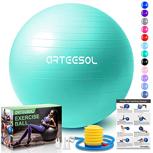 arteesol Gymnastikball, Balance Ball 45cm/55cm/65cm/75cm Yoga Ball mit Pumpe Anti-Burst Fitness Balance Ball für Core Strength (45 cm, Meerblau)