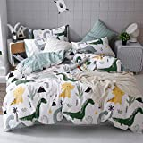 Soft Dinosaur Boys Bedding Twin Bed Set Cotton Duvet Cover for Girls 3 Pcs Blue White Dino Comforter Cover Twin with Zipper Ties 2 Pillow Shams Home Textile Kids Cartoon Dinosaur Bedding,Twin