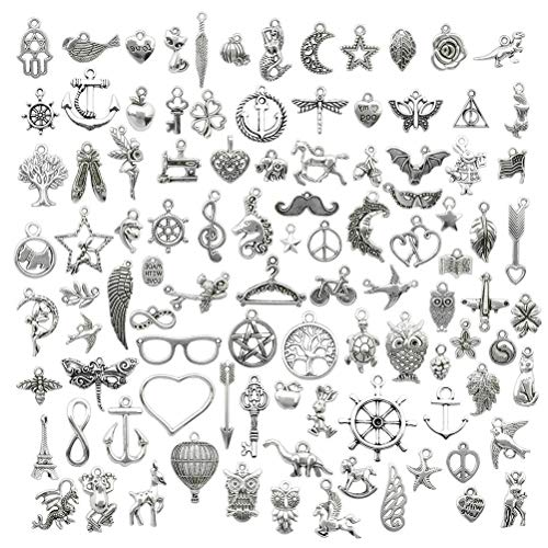 kuou 120 Pcs Retro Silver Pendant Charms, Pendants Bulk Craft Charms Accessory for DIY Necklace Bracelet