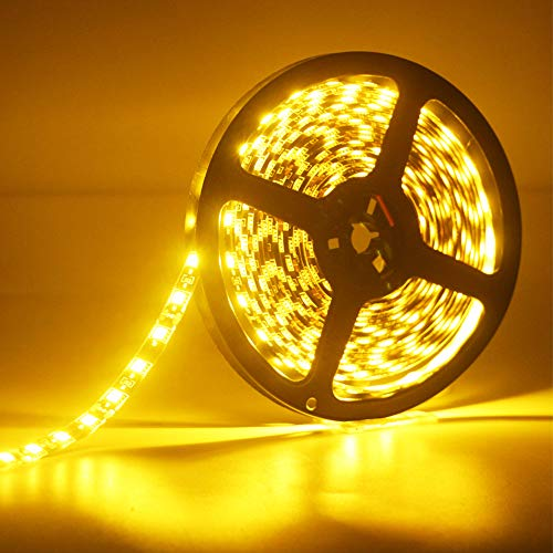 EverBright Led Strip Lights Yellow Flexible Waterproof Led Light Strips 16.4Ft 5050 PCB Black with 12V Power Supply for Home Under Cabinet Brdroom Party Stage Holiday Decoration