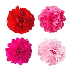 PET SHOW 2″ Valentine's Day Small Dogs Flower Collar Accessories for Cat Puppy Rabbit Pigs Collars Bows Grooming Supplies Red Rose Hotpink Pink for Girls Pack of 4