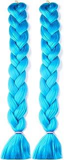 NATURAL BEAUTY 2 Bundles/Lot 41 Inch Synthetic Braiding Hair Extensions 165g/Pcs Crochet Twist Braids Hair for Women(Sky Blue)