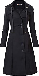 YEMOCILE Women's Warm Long Sleeve Irregular Hem Solid Color Middle Long Button Coat Outerwear Tops with Hoods Coat