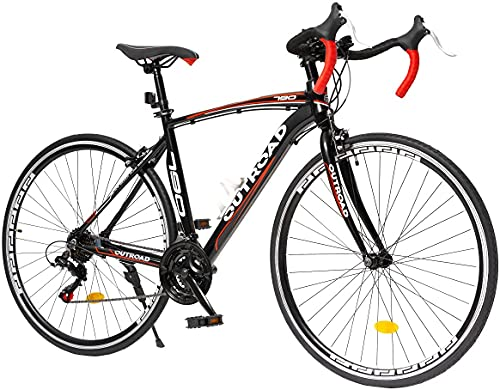 Outroad Road Bike 21 Speed 700C Wheel Wheels with Aluminum Alloy Frame, Rider Bike Faster and Lighter Commuter Bicycle, Red