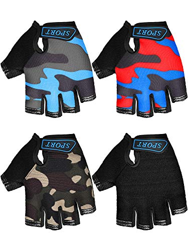4 Pairs Kids Cycling Gloves Half Finger Bike Gloves Non-Slip Mitten Sport Gloves for Boys and Girls (Black, Camouflage, 6-10 Years)