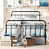 Tribecca Home Giselle Antique Dark Bronze Graceful Lines Victorian Iron Metal Bed (Queen Size)
