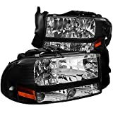Spec-D Tuning 2LH-DAK97JM-ABM Dodge Dakota/Durango Slt R/T Headlights W/Bumper Lights 1Pc. Black