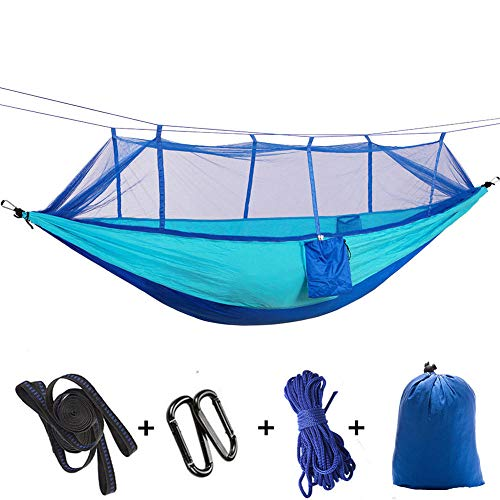 HUANXI MultifunctionDoubleCamping Hammock Tent with Storage Bag + Strap,300kg Load Capacity (260x140cm) Sky Blue Travel Mosquito Net for Outdoor Travel Camping