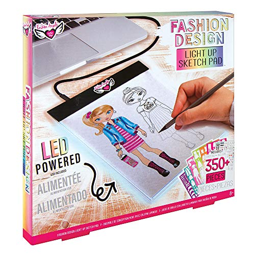 Fashion Angels Fashion Design Light Up Sketch Pad 12521, Light Up Tracing Pad, Includes USB, Ultra Thin Tablet, Includes Stencils and Stickers, Recommended for Ages 8 And Up