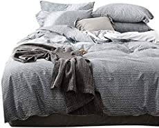 VCLIFE Cotton Queen Sets Gray 3 Pieces Bedding Sets Reversible Stripe Pattern Design for Boy Girl Woman Man Teens Kids Zipper Lightweight Bedding Collection