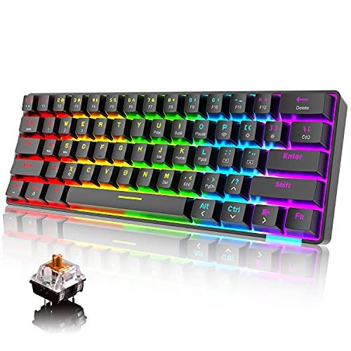 60% Teclado mecánico Cableado / inalámbrico Teclado Bluetooth 5.0 61 teclas RGB Rainbow LED retroiluminado USB tipo C Teclado para juegos a prueba de agua Teclas anti-fantasma (interruptor marrón)