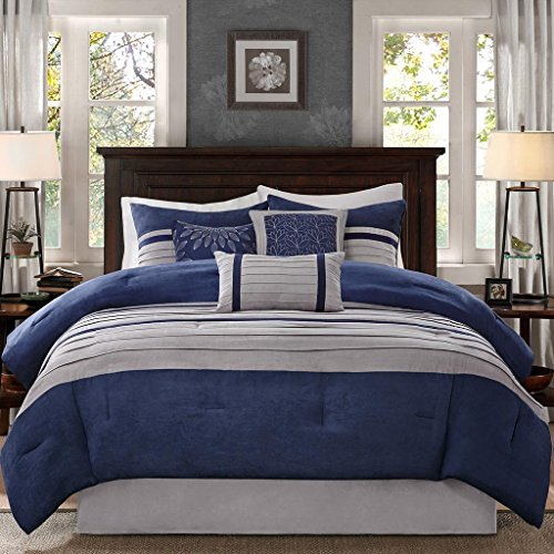 Madison Park - Palmer 7 Piece Comforter Set - Navy Blue and Gray - Queen - Pieced Microsuede - Includes 1 Comforter, 3 Decorative Pillows, 1 Bed Skirt, 2 Shams
