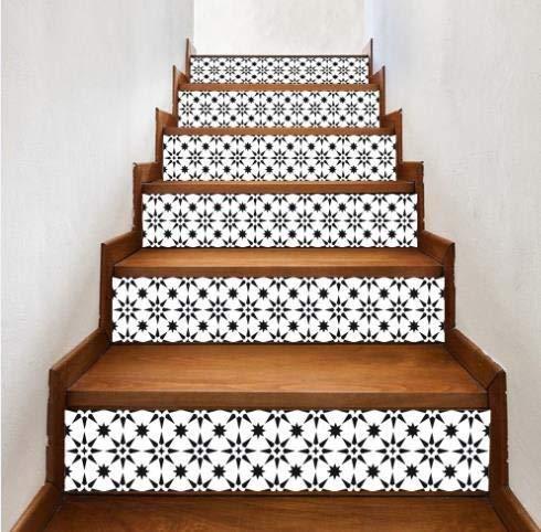 Lianlili 6 unids Blanco y Negro escaleras extraíbles Pegatinas Paso Autoadhesivo Azulejos de cerámica Escalera Papel Tapiz Decorada Vinilo Escalera decoración del hogar