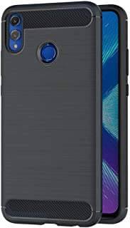 Case for Huawei Honor 8X (6.5 inch) Soft Silicon Luxury Brushed with Texture Carbon Fiber Design Protection Cover (Black)