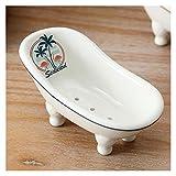 Jaboneras Linda bandeja de jabón de cerámica, soporte de jabón de escritorio creativo y personalizado, soporte de caja de jabón puede ser usado como un hermoso regalo Set de accesorios de baño