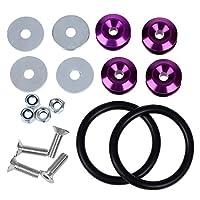 バンパー,SODIAL(R)紫のクイックリリースJDMバンパー、フェンダー、トランクファスナースクリューボルトループリングキット