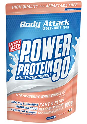 Body Attack Power Protein 90, Strawberry White Chocolate, 500g, 5K Eiweißpulver mit Whey-Protein, L-Carnitin und BCAA für Muskelaufbau und Fitness, Made in Germany