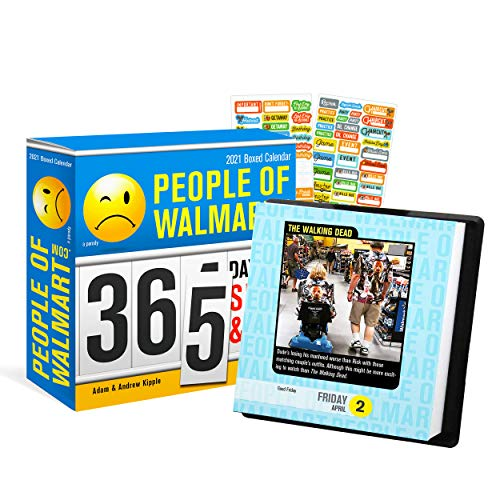 People of Walmart 2021 Calendar, Box Edition Bundle - Deluxe 2021 People of Walmart Day-at-a-Time Box Calendar with Over 100 Calendar Stickers