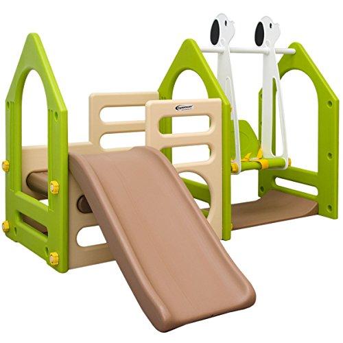 LittleTom Kinder Spielhaus mit Rutsche Schaukel 155x135 cm Kunststoff Spiel-Turm Kletter-Haus für Drinnen Draußen Premium Qualität Beige-Grün-Braun