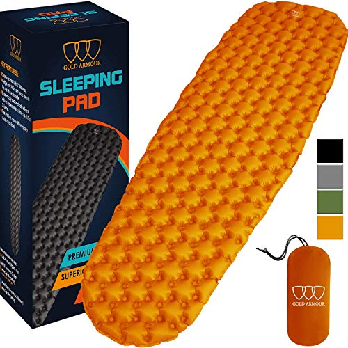 Gold Armour Camping Sleeping Pad - Mat, (Large), Ultralight 17.3 oz, Best Sleeping Pads for Backpacking, Hiking Air Mattress - Lightweight, Inflatable & Compact, Camp Sleep Pad (Orange)