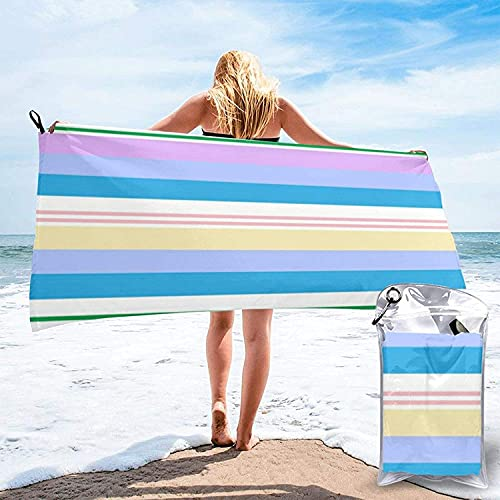 Toalla de baño con Bordes múltiples, Toalla de Playa, Uso Multiusos para Deportes, Viajes, súper Absorbente, Microfibra, Secado rápido, Suave, Ligero, Blanco, 31.5 'x63