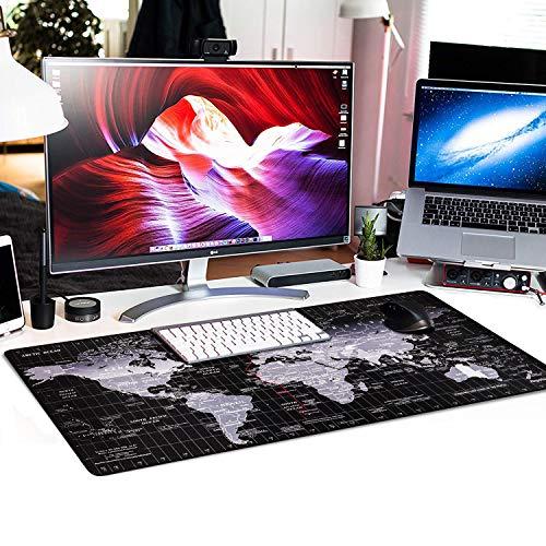 Anpollo XXL Speed Gaming Mauspad Weltkarte 900x400x3mm XXL Mousepad Tischunterlage Large Size Multifunktionales Anti Rutsch schreibtischunterlage verbessert Präzision und Geschwindigkeit